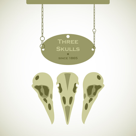witchery: Three bird skulls sign with a plaque hanging on chains