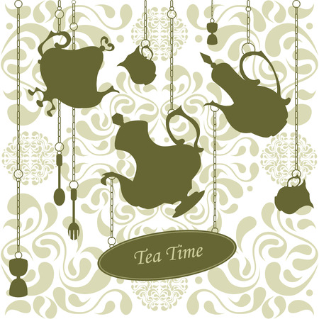 coffeepots: Beautiful card template with coffeepots, cups, a fork and a spoon hanging on chains