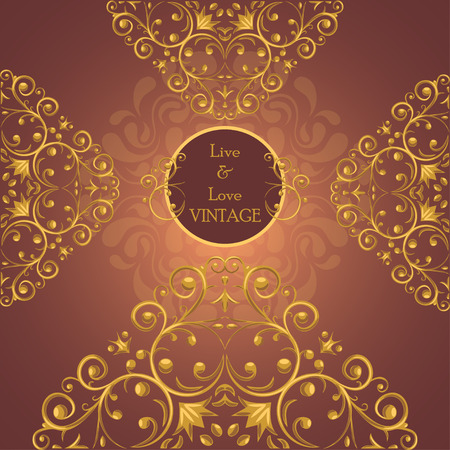 Invitation template with luxurious golden elements