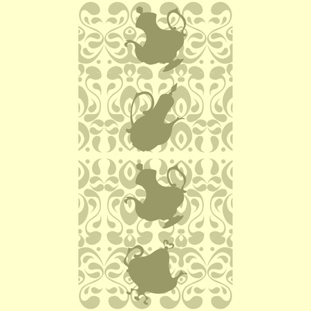 coffeepots: Delicate oriental seamless border with silhouettes of teapots and coffeepots Illustration