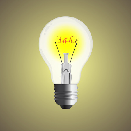 filament: Electric bulb with a word light instead of a filament