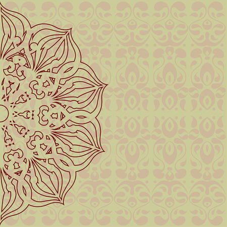 Elegant oriental card template with an intricate motif