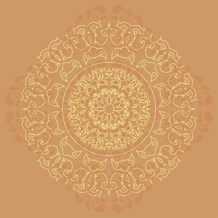 Intricate oriental mandala against abstract background Vector