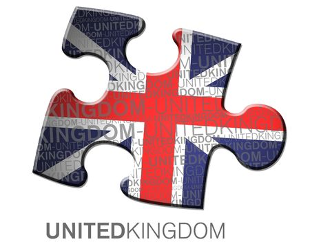 multinational: Flag of the UK inside of  a piece of puzzle