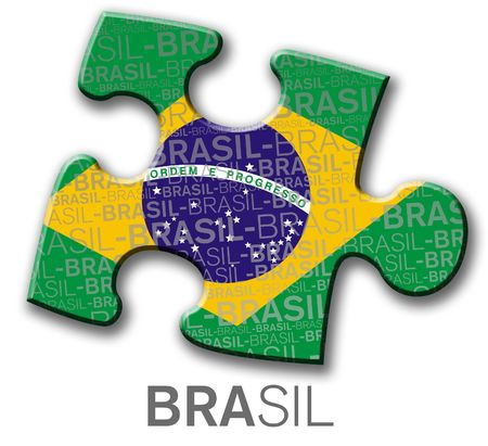 Piece of puzzle with the brazilian flag photo