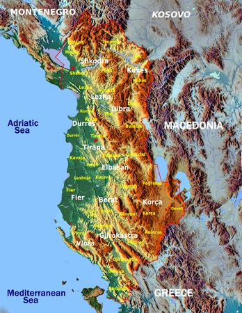 oceania: Albania Europe administrative divisions hi res map aerial illustration