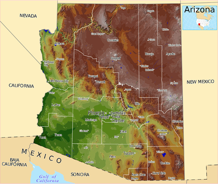 Arizona counties USA hi res aerial view illustration Vector
