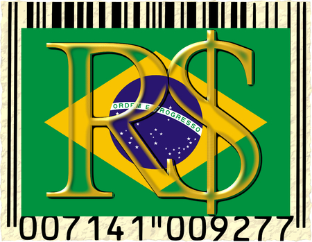 Brazil real currency flag barcode photo