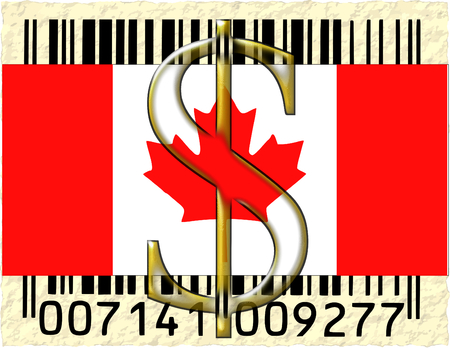 Canada dollar currency flag barcode photo