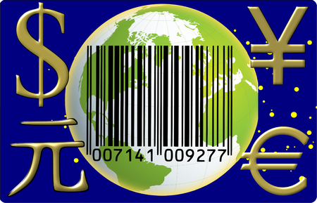 Globe currency barcode photo