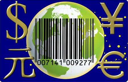 Globo de código de barras de divisas Foto de archivo - 28870599