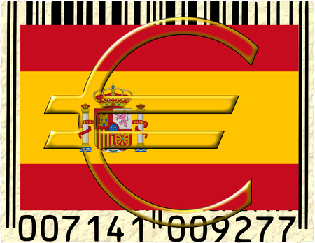 Spain euro currency flag barcode photo