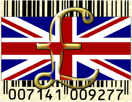 United Kingdom pound currency flag barcode photo