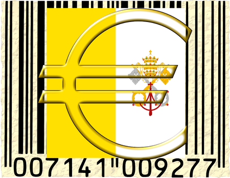 Vatican City euro currency flag barcode photo