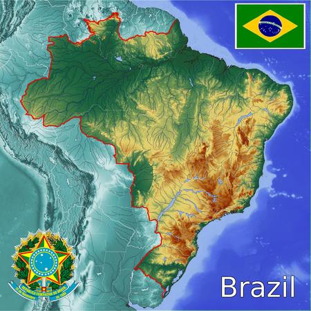 Brazil map flag coat Zdjęcie Seryjne