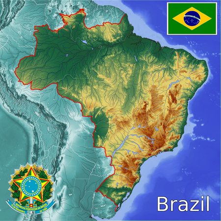 Brazil map flag coat Stockfoto