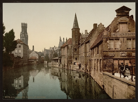 historic world event: Canal and Belfry, Bruges, Belgium