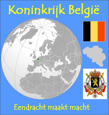 conurbation: Belgium location emblem motto Illustration