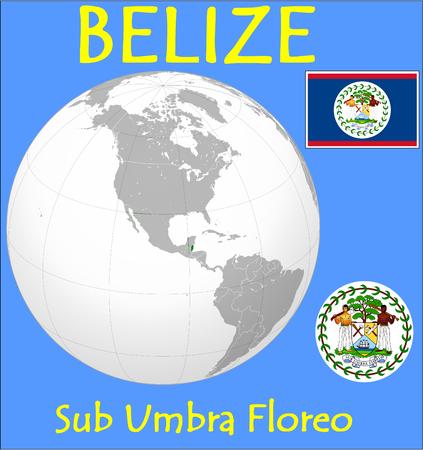 Belize location emblem motto Vector