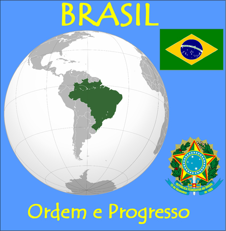 Brazil location emblem motto Illustration