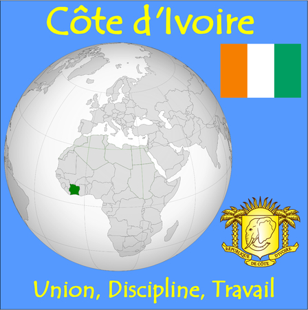 conurbation: Ivory Coast location emblem motto Illustration