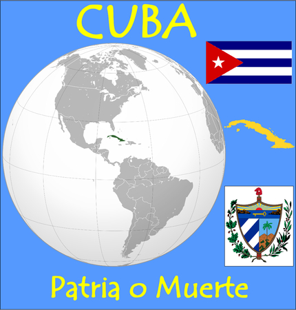 conurbation: Cuba location emblem motto Illustration