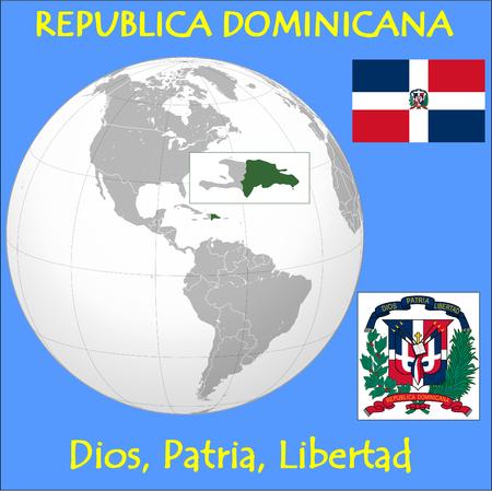 Dominican Republic location emblem motto Vector