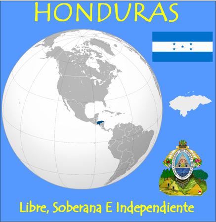 conurbation: Honduras location emblem motto Illustration