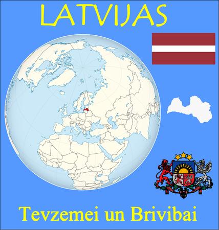 Latvia location emblem motto Illustration