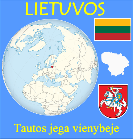 renminbi: Lithuania location emblem motto Illustration