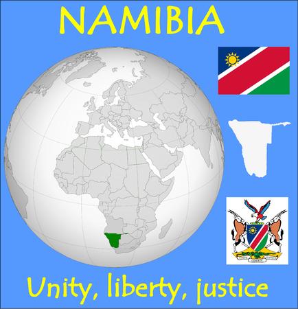 conurbation: Namibia location emblem motto Illustration