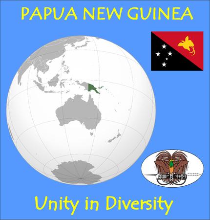 Papua New Guinea location emblem motto