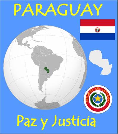 Paraguay location emblem motto Illustration