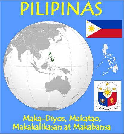 Philippines location emblem motto 向量圖像