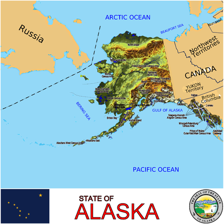 renminbi: Alaska Counties map Illustration