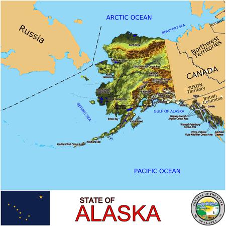 Alaska Counties map 矢量图像