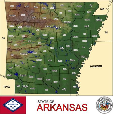 conurbation: Arkansas Counties map Illustration