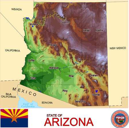 renminbi: Arizona Counties map Illustration