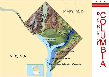 District of Columbia map 矢量图像