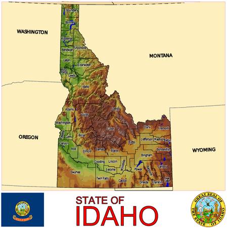 Idaho Counties map Illustration