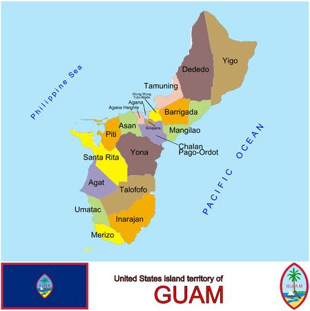 conurbation: Guam Counties map Illustration