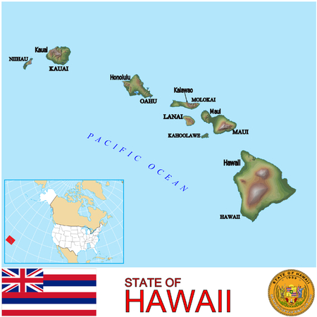 historic world event: Hawaii Counties map