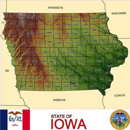 conurbation: Iowa Counties map Illustration