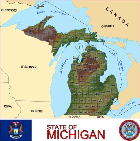 conurbation: Michigan Country map