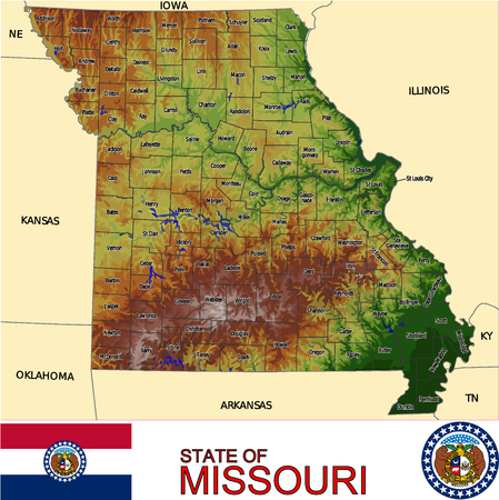 historic world event: Missouri Country map