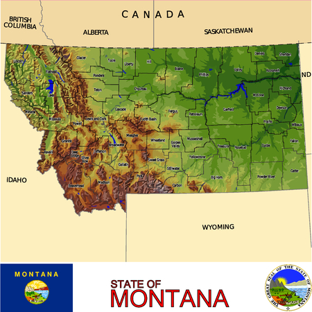 historic world event: Montana Country map