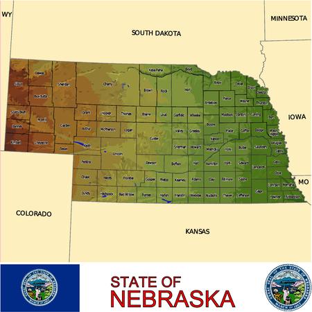 conurbation: Nebraska Country map Illustration