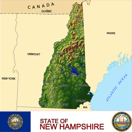 historic world event: New Hampshire Country map Illustration