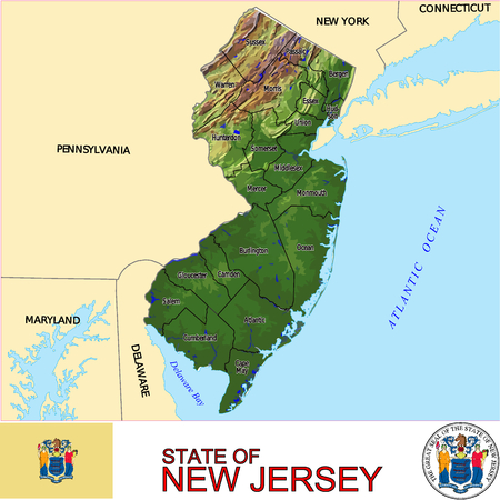 historic world event: New Jersey Country map Illustration
