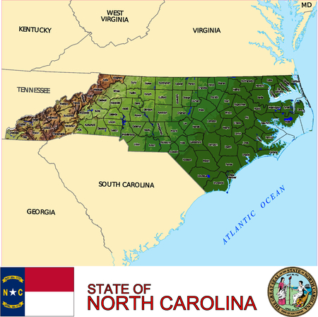 historic world event: North Carolina Country map Illustration